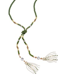 Inc International Concepts Gold Tone Colorful Bead Lariat Necklace Green