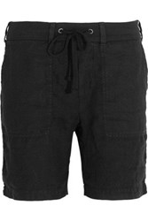 James Perse Cotton Jersey Trimmed Linen Shorts Black