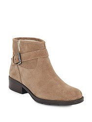 Ivanka Trump Ithota Faux Fur Trimmed Suede Booties Light Brown