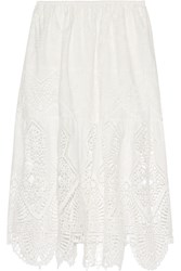 Anna Sui Crochet Trimmed Embroidered Cotton Midi Skirt Ivory