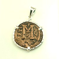 Ancient Treasures Large Pendant With Ancient Byzantine Coin Silver