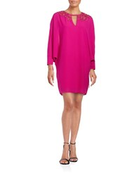 Belle By Badgley Mischka Embroidered Crepe Shift Hot Pink