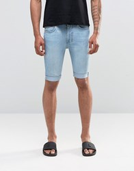 Religion Damned Denim Shorts Blue