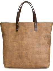 Salvatore Ferragamo Gancio Embossed Tote Brown