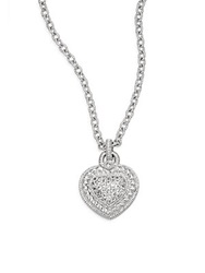 Judith Ripka Fontaine White Sapphire And Sterling Silver Pave Heart Necklace