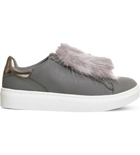 Office Pom Pom Fluff Faux Leather Trainers Grey
