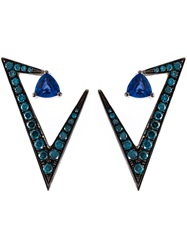 Nikos Koulis Geometric Sapphire And Diamond Earrings Blue