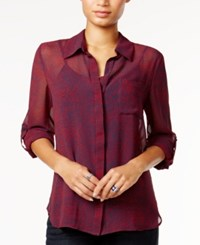 Tommy Hilfiger Roll Tab Sleeve Printed Shirt Only At Macy's Scarlet Multi