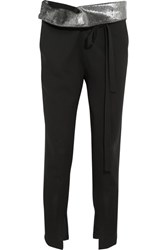 Ann Demeulemeester Metallic Trimmed Wool Twill Tapered Pants Black