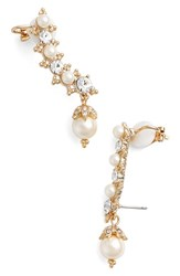 Marchesa Women's Crystal And Faux Pearl Ear Crawlers