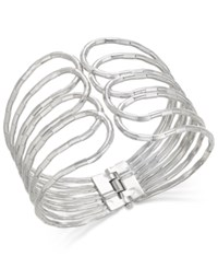 Thalia Sodi Silver Tone Looped Hinged Cuff Bracelet Only At Macy's