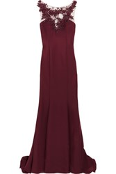 Mikael Aghal Embellished Satin Twill Gown Burgundy