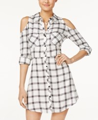Material Girl Juniors' Plaid Cold Shoulder Shirtdress Only At Macy's Cloud Dancer