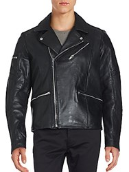 Karl Lagerfeld Long Sleeve Leather Jacket Black