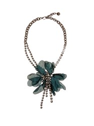 Lanvin Floral Embellished Necklace Dark Green