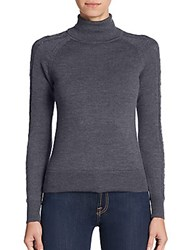 Milly Pointelle Sleeve Merino Wool Turtleneck Sweater Charcoal