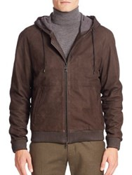 Vince Leather Zip Front Hoodie Espresso Brown
