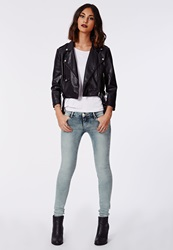 Missguided Low Rise Skinny Jeans Blue Acid Wash