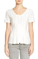 Women's Hinge Seam Detail Peplum Top Ivory