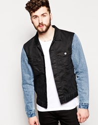 Zee Gee Why Denim Jacket Lorry Contrast Sleeves Black