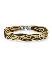 Alor Braided Stainless Steel Micro Cable Bracelet Black Yellow