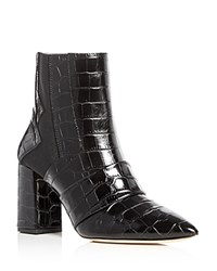 Jerome C. Rousseau Shaw Crocodile Embossed Pointed Toe Booties Black