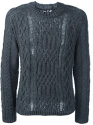 Maison Martin Margiela Ladder Stitch Knitted Sweater Grey