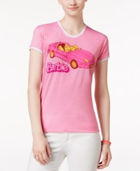 Mighty Fine Juniors' Barbie Car Graphic Ringer T Shirt Bubblegum