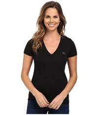 Lacoste Short Sleeve Cotton Jersey V Neck Tee Shirt Black Women's Short Sleeve Pullover