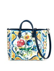 Dolce And Gabbana Maiolica Floral Print Tote