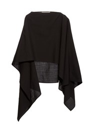 Christophe Lemaire Asymmetric Wool Poncho Black