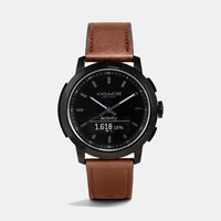 Coach Bleecker Smart Ionized Plated Leather Strap Watch Saddle