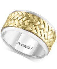 Effy Men's Two Tone Woven Look Ring In Sterling Silver And 18K Gold Plated Sterling Silver Two Tone