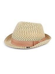 Block Headwear Braided Straw Fedora Natural