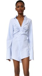 Jacquemus Ruched Wrap Dress White Sky Blue Striped