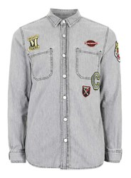 Topman Grey Denim Badged Casual Shirt