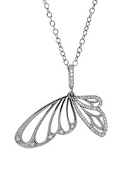 Lord And Taylor Diamond Butterfly Pendant Necklace White Gold