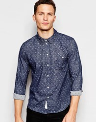 Native Youth Polka Reverse Long Sleeved Shirt Blue