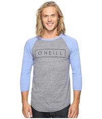 O'neill Running Raglan Long Sleeve Screens Impression T Shirt Grey Blue Men's T Shirt Gray