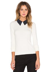 Milly Beaded Tuxedo Collar Sweater Ivory