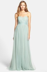 Plus Size Women's Jenny Yoo 'Annabelle' Convertible Tulle Column Dress Sea Glass