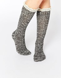 Abs By Allen Schwartz Knee High Sock In Crochet Lace Black