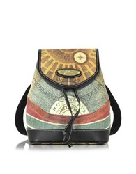 Gattinoni Planetarium Coated Canvas And Leather Small Backpack Multicolor