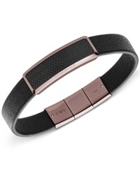 Armani Exchange Men's Black Brown Plated Steel Leather Bracelet Egs2249