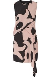 Mcq By Alexander Mcqueen Asymmetric Printed Crepe Mini Dress Blush