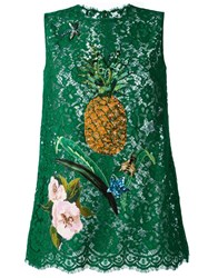 Dolce And Gabbana Sequinned Lace Top Green
