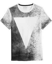 Guess Men's Triangle Graphic Print T Shirt True White Multi