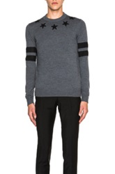Givenchy Banded Star Neck Sweater In Gray