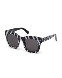 Dsquared2 Zebra Print Oversized Square Plastic Sunglasses Black White