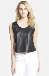 Rebecca Minkoff 'Oasis' Crop Leather Tank Black
